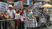 Thousands of protesters are expected in Times Square Wednesday, July 22, 2015, to rally against the controversial deal to lift sanctions against Iran in exchange for limits on its nuke program. (New York Post/Annie Wermiel)